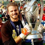 Columbus Crew Goalkeeper William Hesmer With MLS Cup Trophy