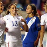 Alex Morgan (#13) Congratulates Tobin Heath (R) On Her Goal